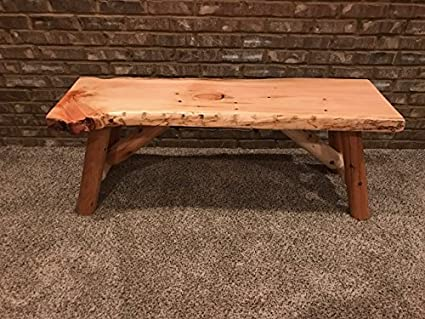 Amazon Com Rustic Log Bench Pine And Cedar With Live Edge Furniture