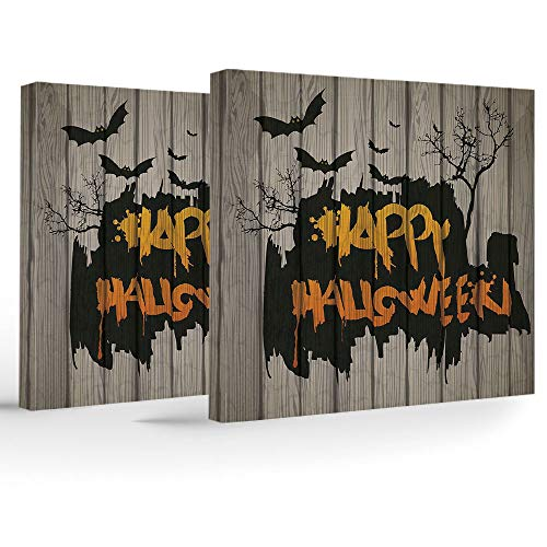 Artwork Wall Art Canvas Prints Picture,Halloween Decorations,2 Panels Stretched Canvas Framed Wall Art,Happy Graffiti Style Lettering on Rustic Wooden Fence Scary Evil Artwork -