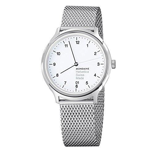 Mondaine Unisex MH1.R2210.SM Helvetica No1 Regular Analog Swiss Quartz Silver-Tone Stainless Steel Watch - Regular Unisex Watch