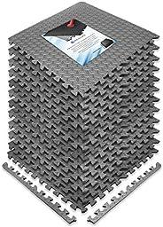 REALIKE Multipurpose Exercise Mat, Gym flooring Mat, EVA Foam Interlocking Tiles Floor Mat Protective Flooring