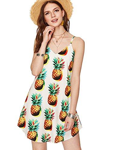 Romwe Women's Overall Fruit Pineapple Graphic Print Crisscross Neck Mini Short Cami Shift Dress White L ()