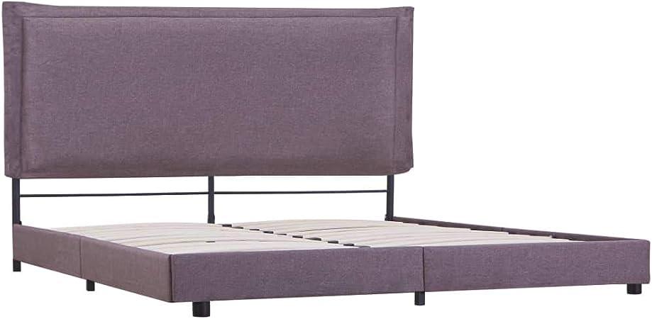 vidaXL - Cama tapizada clásica de tela, cama de matrimonio ...