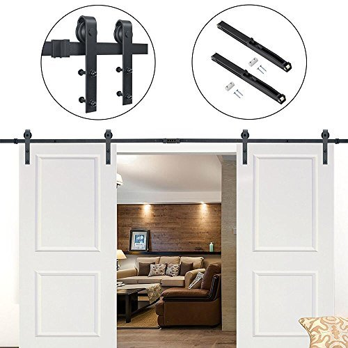 New Hahaemall Rustic American Country 5-16 FT Barn Door Hardware Steel Track For Double Wooden Doors Closet Kitchen Kit (12FT Double Door Kit with Soft Close) for sale