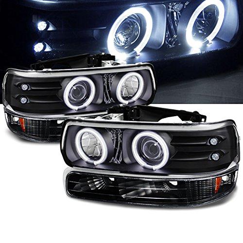 For 1999-2002 Chevy Silverado, 2000-2006 Tahoe/Suburban Black Halo LED Projector Headlights + Bumper Lights 2001 2003 04 Halo Headlights Bumper