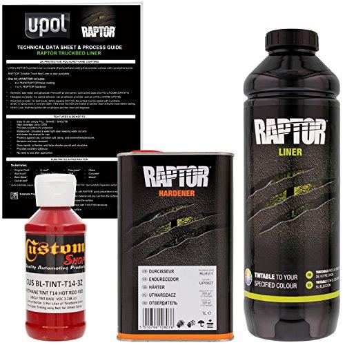 U-Pol Raptor Hot Rod Red Urethane Spray-On Truck Bed Liner & Texture Coating, 1 Liter