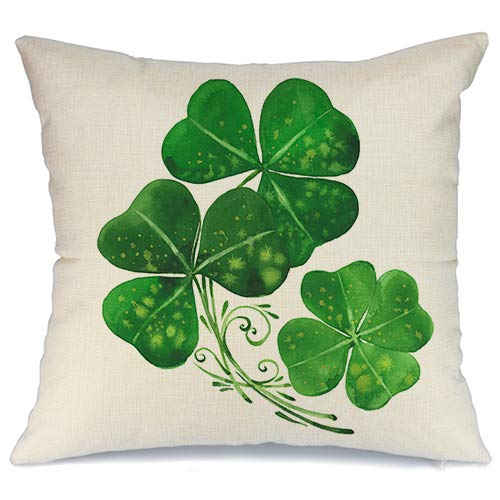 AENEY St Patricks Day Pillow Cover 18x18 for Couch Green Clover Happy St Patricks Day Decorations for Home Decor Throw Pillow Cover Pillowcase Faux Linen Cushion Case for Sofa A186