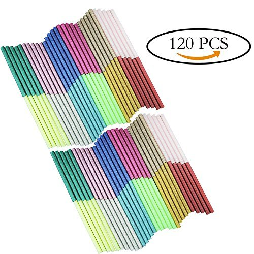 Multicolored Hot Glue Gun Sticks Glitter Bling-bling Hot Melt Glue Sticks Mini 7 mm X 100 mm 120PCS with 12 Colors for DIY Art Craft/PDR - By Huaing by Huaing