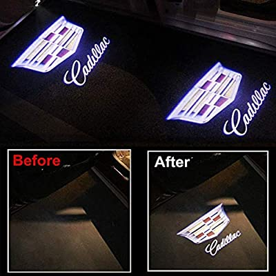 Wesport 4 Pcs Double Interface Design Car Door LED Logo Projector Welcome Lights Ghost Shadow Lights Compatible With (Fit Cadillac): Automotive