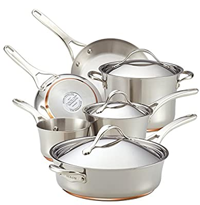 Anolon Nouvelle Copper Stainless Steel 9-Piece Cookware Set