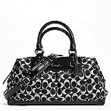 Coach Ashley Signature Sateen Large Satchel Purse Handbag Black White, Bags Central