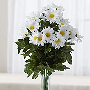 Factory Direct Craft White Poly Silk Daisy Floral Bush | for Indoor Decor 15