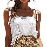 Women's Cotton Linen Sleeveless Tee Tanks Women Adjustable Cold Shoulder Tassel Camis Blouses Tops (S, White)