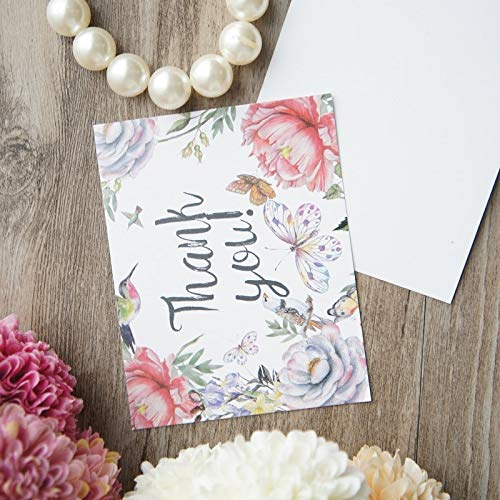 Price comparison product image VT BigHome 50pcs Mini Thank You Card Butterfly Flower Style Scrapbooking Party Invitation Cards Valentine Christmas Scrapbooking
