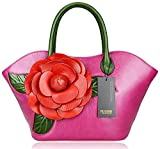 PIJUSHI Designer Flower Handbags Ladies Handmade Leather Tote Shoulder Bags Holiday Gift 8828 (purple)