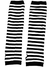 uxcell Lady Fingerless Stripes Prints Fabric Arm Long Gloves Warmers White Black Pair