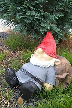 Saco de jardín Enano durmiendo en 35 cm gris Figura enanito de jardín Top: Amazon.es: Jardín