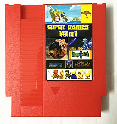 ASMGroup 8 bit Red Top 72 Pins 8 bit Game Cartridge 143 in 1 with game Earthbound Final Fantasy 1 2 3 Kirby