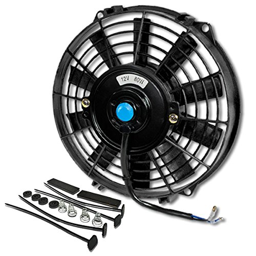 ((Pack of 1) 9 Inch High Performance 12V Electric Slim Radiator Cooling Fan w/Mounting Kit - Black)