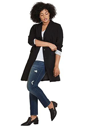 027d002dbfe Ellos Women s Plus Size Long Boyfriend Blazer at Amazon Women s Clothing  store
