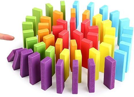 ZPWHOME Juego de Juego de Bloques de Madera de Colores Juguete de Madera Que Cae Jenga Classic Game Dominoes Wood Family Games - 54 Piezas: Amazon.es: Hogar