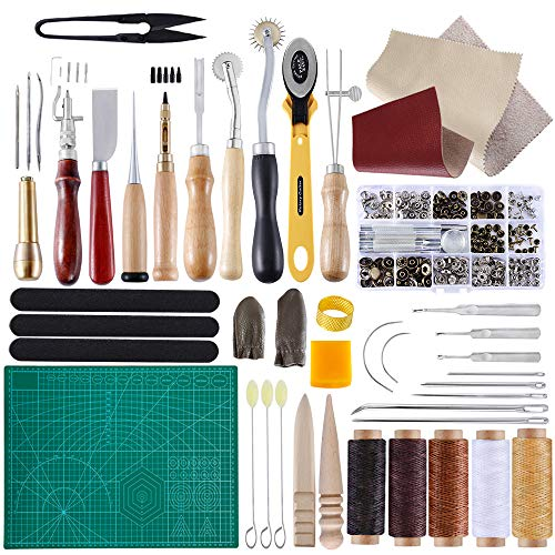 BUTUZE Complete Leather Craft Tool Sets 42 PCS DIY Craft Supplies for Beginner-Hand Sewing Tools for Stitching/Cutting/Punching Canvas or Leather/Leather Craft DIY