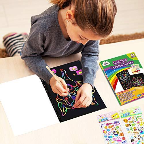 ZMLM Scratch Paper Art Notebooks – Rainbow Scratch Off Art Set for Kids Activity Color Book Pad Black Magic Art Craft…