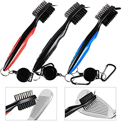 """Topeakmart 3 Pack Golf Brush Club Groove Cleaner Dual Sided Brush With Spike Golf Bag Accessories with 33"""" Retractable Clip"""