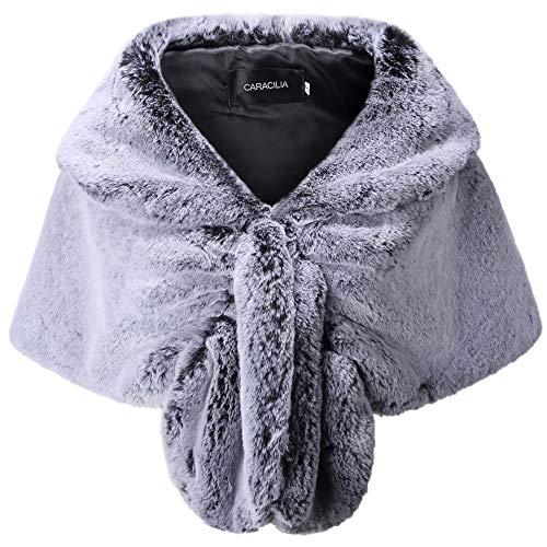 Rabbit Fur Cardigan - Caracilia Women Faux Fur Shawl Wrap Stole Shrug Winter Wedding Wrap tuibai S CA95