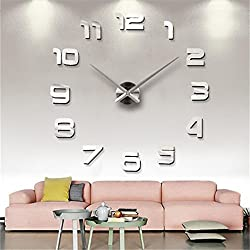 Md trade Modern DIY Wall Clock, 3D Frameless Mirror Surface Design DIY Clock for Home Decoration,Silver