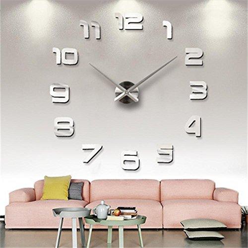 Md trade Modern DIY Wall Clock, 3D Frameless Mirror Surface Design DIY Clock for Home Decoration,Silver (Wall Huge Mirrors)
