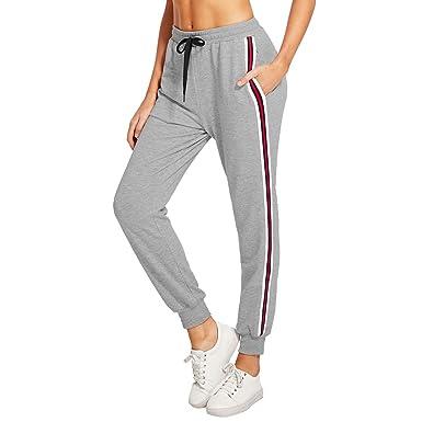 67a87caddf6e64 Mxssi Damen Gestreifter Hosen Mode Mittlere Taille Jogginghose mit  Kordelzug Frauen Casual Jogging Yoga Hose Sporthose