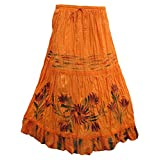 Mogul Womens Orange Skirt Rayon Embroidered Boho Maxi Skirt L