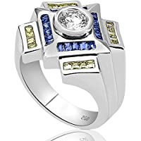 Men's Sterling Silver .925 Designer Ring Featuring a 1.75 Carat White Cubic Zirconia (CZ) Center Stone Surrounded...