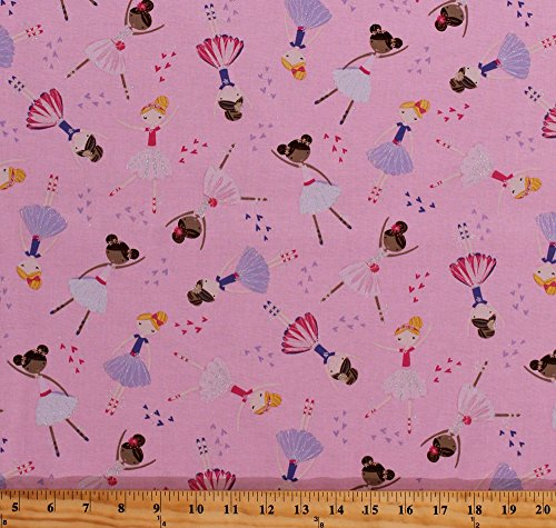 Cotton Ballerinas Ballerina Girls Ballet Dance Silver Metallic Glitter Sparkles Pink Kids Cotton Fabric Print by the Yard (KIDZ-CM6002-PINK)