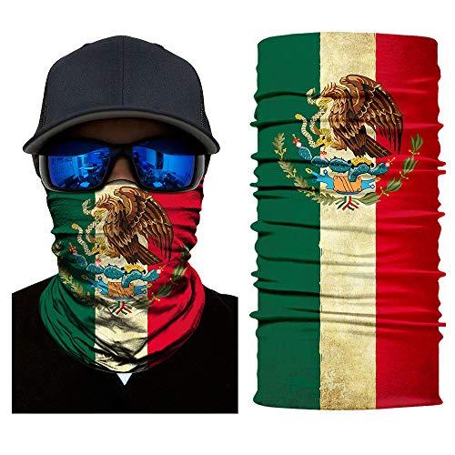 (woozii 12-in-1 Magic Scarf,Skeleton Skull Flag Seamless Bandana, Face Mask,Fishing mask, Thin Ski Mask, Neck Warmer Balaclava Bandana for Raves, Dust, Riding Bike, Motorcycle, Outdoor)