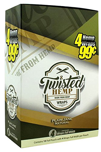 15 pk Twisted Hemp Wrap Plain Jane 4 leaf per pk by Twisted Hemp Wrap