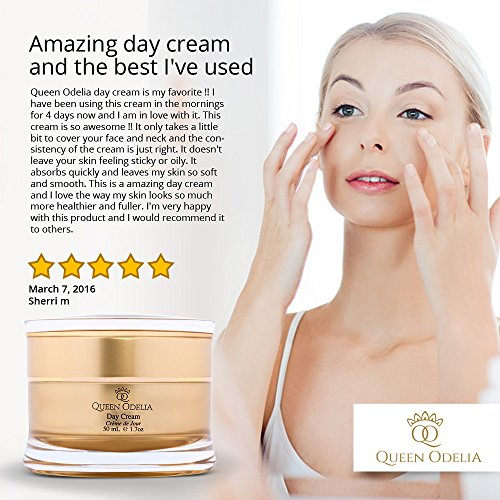 Queen Odelia Anti Aging Moisturizer Day Cream with Cactus Oil, Dead Sea Minerals and Vitamin E and and Vitamim C, 1.7 oz