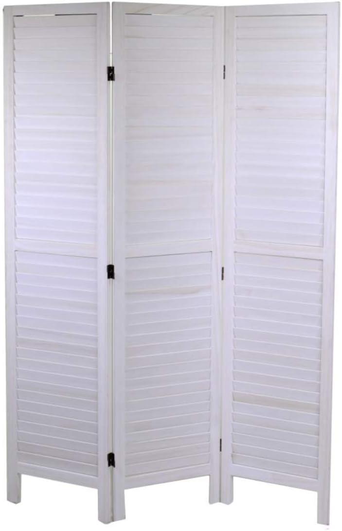 Biombo madera 3 puertas blanco 120 x H170 cm: Amazon.es: Hogar