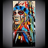 Canvas Print Indian Painting Native American Girl Feathered Women Modern Home Wall Decor Artworks Picture Art HD Posters and Prints Painting On Canvas 3 Piece Framed, 24x32 Inch/3pcs