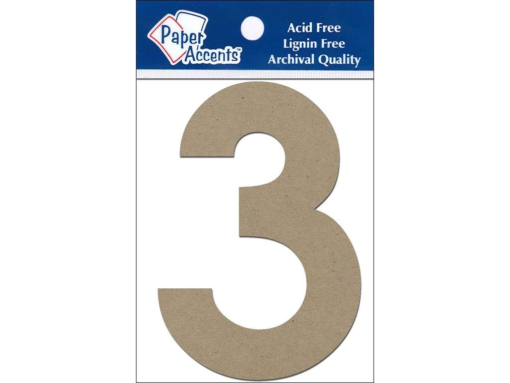 Accent Design Paper Accents ADP49319 4 3 2 Piece Natural Chipboard Chip Numbers