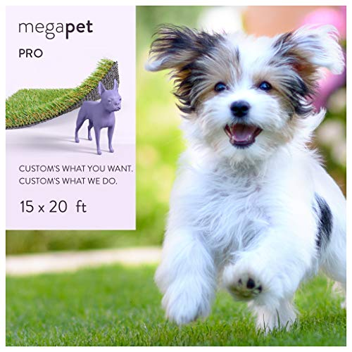 MEGAGRASS 15 x 20 Ft Rolls Pet Pro - Indoor and Outdoor Artificial Grass Patch for Dogs and Fake Puppy Potty Training Pee Pads, 300 Square Ft