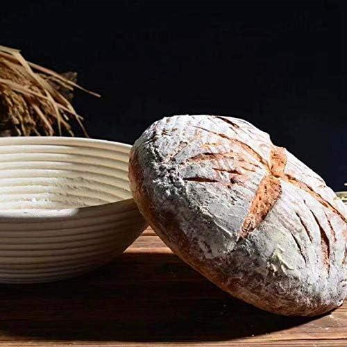 TOOGOO Ensemble De Paniers D/épreuve Rondes Banneton Brot Forme Non Blanchi Naturel Cuisson du Pain De Canne Trousse avec Doublure en Tissu
