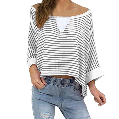 Sunhusing Ladies Sexy Strapless Off-Shoulder Striped Print Cropped Sleeve Loose Casual Pullover Tops Gray ()