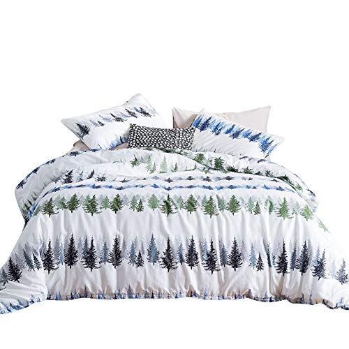 YuHeGuoJi 3 Pieces Duvet Cover Set 100% Cotton White Queen Size Pine Tree Print Bedding Set 1 Forest Pattern Duvet Cover with Zipper Ties 2 Pillow Cases Luxury Quality Warm Hypoallergenic Durable