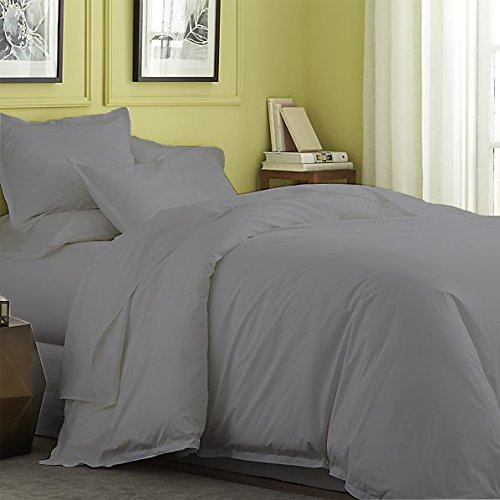 Flyingcart Soft 500-Thread-Count Egyptian Cotton Queen Duvet Cover, Dark Gray