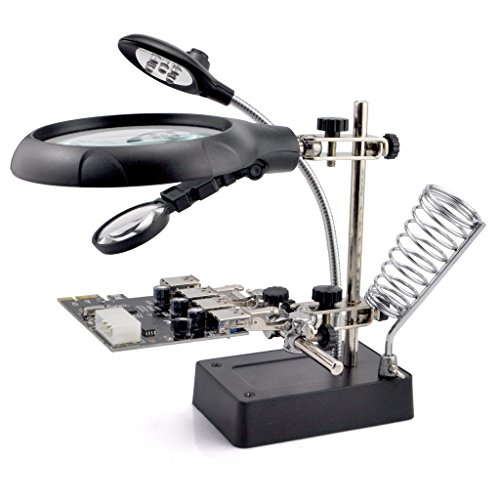 iKKEGOL 5 LED 2.5X 7.5X 10X 2 Lens Auxiliary Alligator Clip Magnifier AC/DC Interchangeable Helping Hand Soldering Solder iron stand Stations