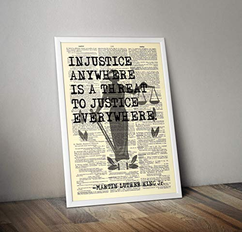 Justice Lady - Martin Luther King Jr. Quote - Injustice Anywhere. - 8x11 Vintage Dictionary Art - Art Lady Justice