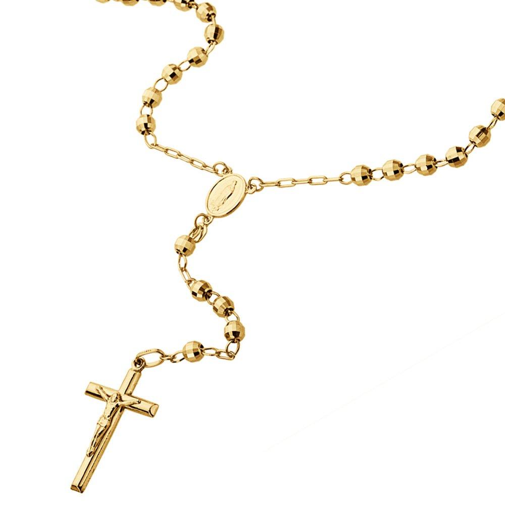 14K Gold Tri-color, Yellow or White Gold Chain 3mm DC Bead Rosary Chain Necklace (16, 18, 20, 24 Inches), 16'' by Double Accent (Image #5)