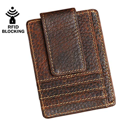 Le'aokuu Genuine Leather Magnet Money Clip Credit Card Case Holder Slim Wallet (Dakr Brown 2 Rfid)