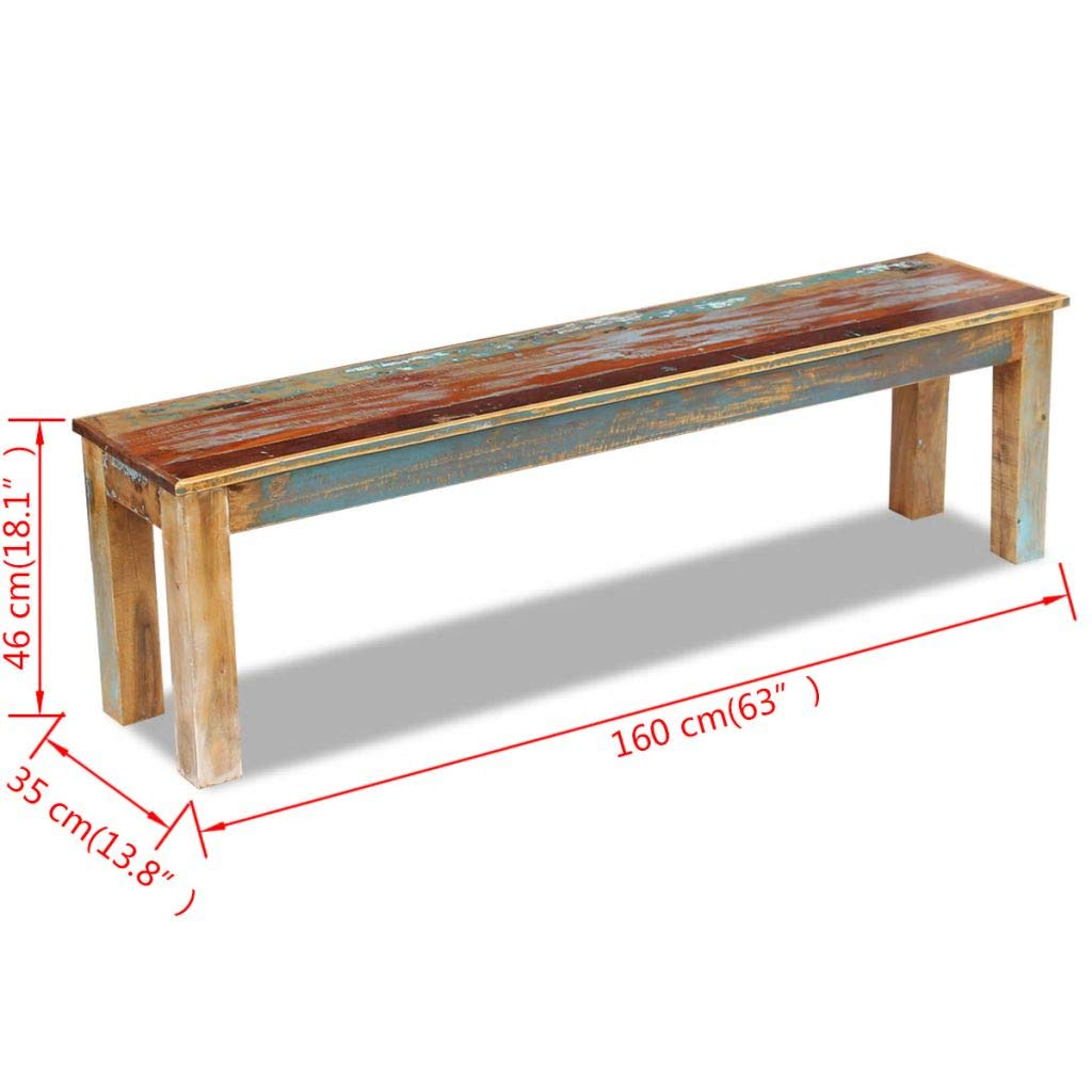 mewmewcat Upgraded Handmade Solid Reclaimed Wood Bench Dining Seats, Home Seat Furniture Hall 63'' 63''x 13.8''x18.1'' by mewmewcat (Image #3)